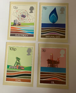 Postcard  1978 PHQ 27(A, B, C, D) Energy, Oil Electricity Coal Natural Gas Ref24