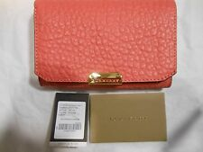 NWT Burberry $495 Wellington Pebbled Leather Wallet Clutch Purse Bag, Rose Pink