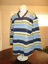 LIZWEAR CLAIBORNE Navy Striped Polo L/S V-Neck Lightweight Pullover Tunic Wms XL