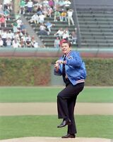 President Ronald Reagan throws first pitch at Wrigley Field baseball 8x10 Photo