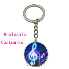 Vintage Glass Cabochon silver Car Key chain ring pendant:Neon music notes