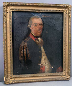 18thC Antique AMERICAN COLONIAL Military OFFICER & UNIFORM Old PORTRAIT PAINTING