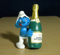 Smurfs 20708 Bottle Smurf Champagne Party Vintage Toy PVC Figure Peyo Figurine