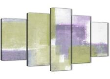 XL Lime Verde Viola astratto dipinto Tela Stampa - 5 PART-larghezza 160 cm - 5364
