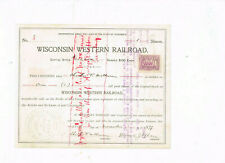 Wisconsin Western Railroad, 1899, #3, COX  WIS-950-S-50, issued and cancelled, t