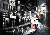Innamorati sotto la pioggia quadro - Dipinto a olio telaio in legno