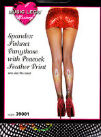 **NEW** Black Fishnet Tights with Designer Peacock Feather Print Motif