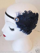 Marineblau Feder Kopfteil Vintage Stirnband 1920s Deko Flapper Große Gatsby k83