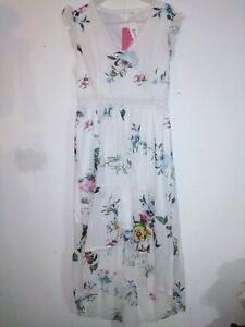 Bnwt Patpat Floral Asymmetric Dress With Ruffle Sleeve Size L