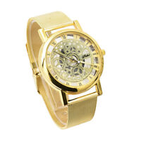 Stainless Luxury Mechanical Skeleton Watch Quartz Steel Mesh Band Wrist For Men