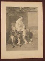 """antique 19th century original """"The Reproof"""" engraving original Cogmans print"""