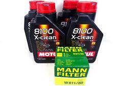 Aceite de Motor 5W40 4liter Motul 8100 X-Clean SAE 5W-40 + Mann W811/80 Kit