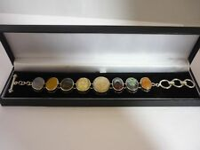 Stunning Unusual Coral Fossil, Labradorite Plus Others Sterling Silver Bracelet