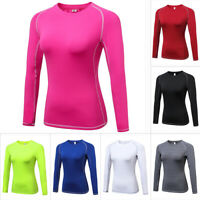 US Ladies Women Sport Running Compression T-Shirts Long Sleeve Athletic Tee Tops