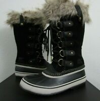 NIB Womens Sorel Joan of Arctic Leather Insulated -25F Snow Winter Boots Black