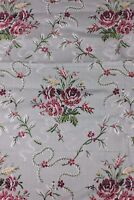 Vintage French Woven Brocade c1920-1930s~Roses & Lacy Ribbon~Frame Layout