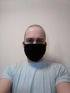 10 x Black Bulk Wholesale Cotton Face Masks 2 cotton layers. Washable / Reusable