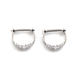 """16G 5/16"""" (8mm) Plated on Brass 5 CZ Clear Gems Septum Clicker Nose Ring"""