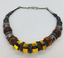 Vintage Sterling Silver & Translucent Amber Beaded Chunky Necklace