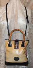 DOONEY & BOURKE PANAMA BAMBOO HANDLE COLLECTION LINEN TAN & BLACK LEATHER