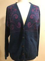 Pendleton Cardigan Sweater Sz M Blue/Purple 100% Wool