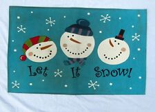 Let it Snow Man Snowman Snowflake Winter Holiday Christmas Floor Door Mat Rug