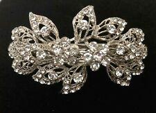 Leaf Crystal Rhinestone Hair Barrette - Prom Bridal Formal Hair Clip Headpiece