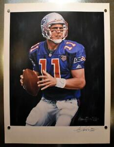 Drew Bledsoe Patriots 18x24 Anthony Douglas Lithograph Aritst Signed & Numbered