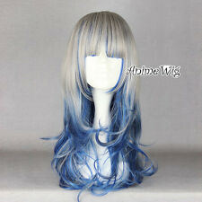 Lolita Gray Mixed Blue Long 60CM Curly Ombre Harajuku Party Women Cosplay Wig