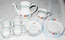 Germany Marked Blue Red Floral China Child Tea Set  -  Lot of 14 Pieces