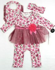 Nicole Miller New York Floral Baby Girl 3 Pc Set Skirted Romper Bib Headband NEW