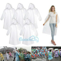 5*Disposable Adult Emergency Waterproof Rain Coat Poncho Hiking Camping w/ Hood