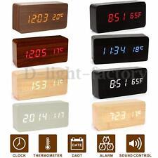 Delhanway Horloge Réveil Alarme Digital LED Bois Calendrier Thermomètre USBAAA
