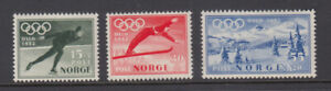 Norway Sc B50 - B52 Olympic Winter Games 1952 Set VF Mint Never Hinged