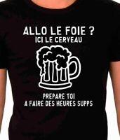 """T-shirt homme """" allô le foie alcool """"drôle et humoristique"""