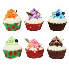 Set of 6 Artificial Magnetic Cupcakes Fake Fruit Bread Confectionery Dessert
