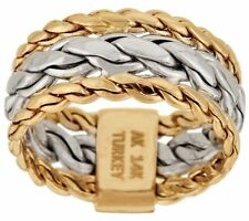 14K GOLD TWO-TONE BRAIDED WOVEN HOLLOW CURB LINK DESIGN RING SIZE 5 QVC $299.00