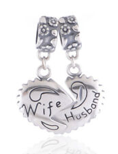 Wife & Husband Heart Charm 925 Sterling Silver - I Love You Christmas Gift