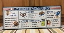 Ball Game Concessions Baseball Metal Vintage Style Hot Dog Grill Pub Coke Sports