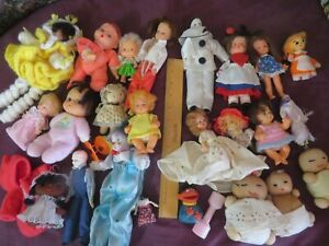 HUGE 25+ Items Mix Lot Vintage 1960's 1970's Doll Lot Dime Store Homemade House