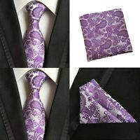 Men Purple Paisley Silk Ties Pocket Square Handkerchief Hanky Set Lot HZTIE066