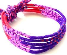 Lot 5 Bracelets Brésiliens de l'Amitié Macramé coton rouge rose violet