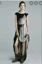 Zara Tie Die Print Draped Grecian Long Length Maxi Dress Pleated Front Size S