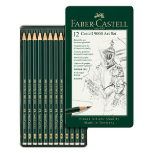 Faber-Castell 9000 Graphite Pencils Set of 12 in Metal Storage Tin (2H - 8B)