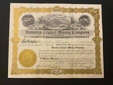 1921 Bonanza Copper Mining Company Stock Certificate Tacoma, Washington