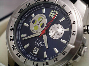 MEGA-QUARTZ TIDE WATCH with 9 JEWEL SWISS MOVEMENT stainless case