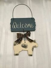 "Wooden Welcome Hanging with Cow - 10"" long - 4 1/2"" wide - Handmade"