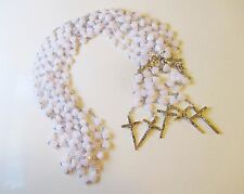 Wholesale Lot of 10 Beautiful White Heart Rosaries, Silver Tone Metal