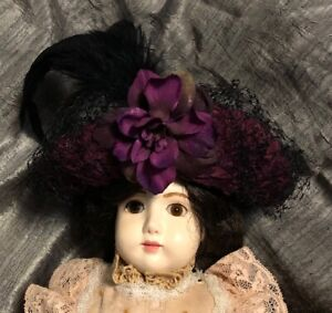 Artisan Veiled Hat For Antique or Reproduction Bisque Doll