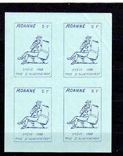 180418)..TIMBRE DE GREVE ROANNE 1988...non dentelé en bloc de 4..5F